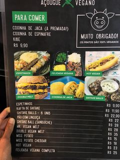 A menu of Açougue Vegano, Ipanema