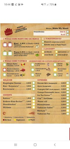 A menu of Lezizel Manti, Neufahrn