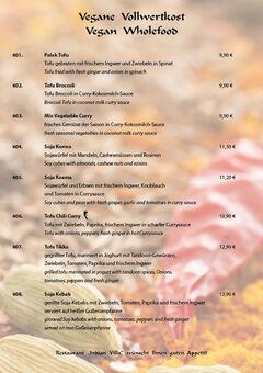 A menu of Indian Villa