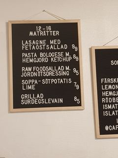 A menu of Café Holmgången