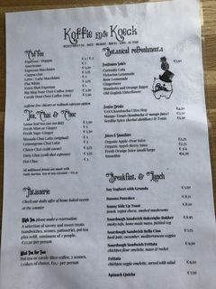 A menu of Koffie ende Koeck