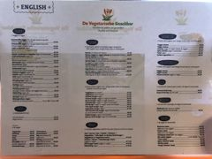 A menu of De Vegetarische Snackbar