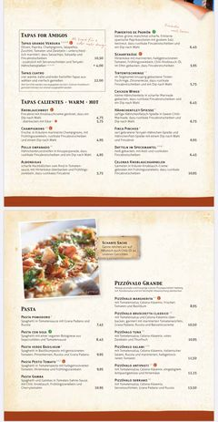 A menu of Finca & Bar Celona