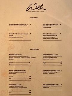 A menu of Wish