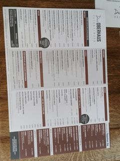 A menu of Das Oberhaus