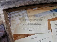 A menu of Cafe Fontane
