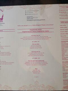 A menu of Bandai Thai