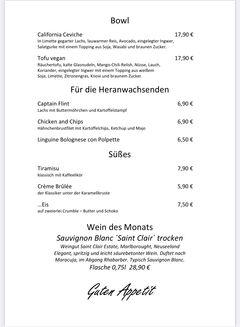 A menu of Weltenbummler